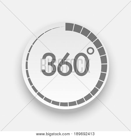 Realistic 360 Degrees Button for Web Design. Vector Illustration