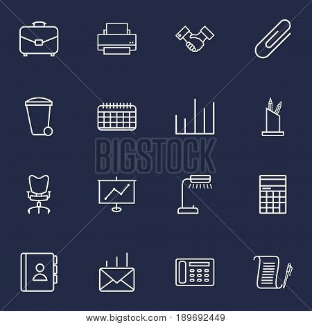 Set Of 16 Bureau Outline Icons Set.Collection Of Telephone Directory, Workplace, Chart And Other Elements.