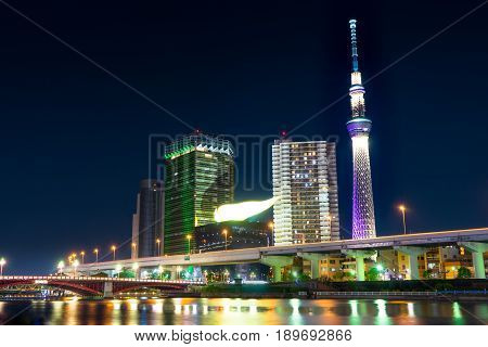 Tokyo Japan - May 2 2017: Tokyo Skytree and Asahi building is lighten up at night.