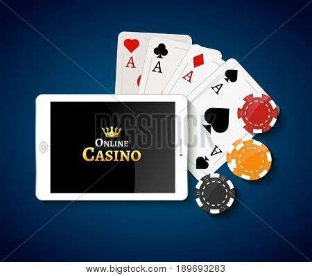 Online casino design poster banner. Tablet with poker chips and cards on table. Casino gambling background, poker mobile app.