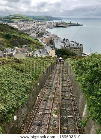 ABERYSTWYTH - MAY 31, 2017: The Aberystwyth Cliff Railway in Aberystwyth, Wales, UK. The funicular railways began operation in 1896 and is 237 metres long.