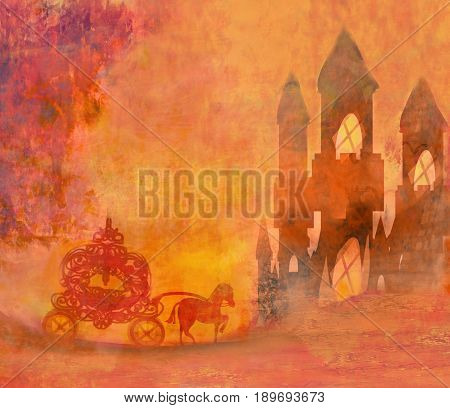 Carriage at sunset. Silhouette of a horse carriage , raster
