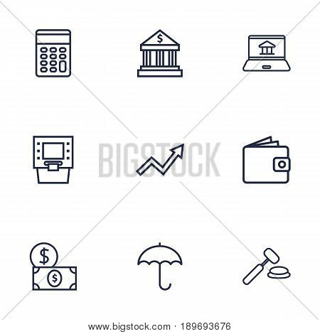 Set Of 9 Budget Outline Icons Set.Collection Of Wallet, Internet Banking, Dollar And Other Elements.