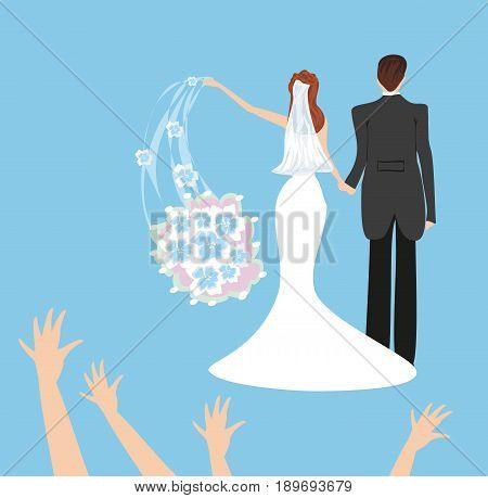 wedding couple bride throws her wedding bouquet , vector illustration