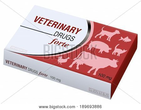 Veterinary drugs fake box - symbol for medical abuse of pets, animals, livestock. Isolated vector illustration on white background.