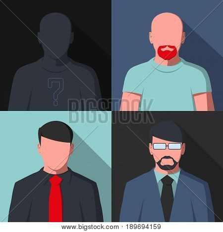 Avatar profile icons. Silhouette of business people. Flat vector illustration.