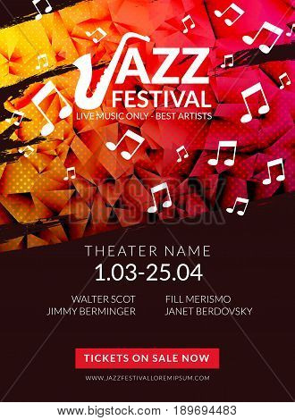 Vector musical flyer Jazz festival. Music poster background festival brochure flyer template