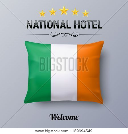 Realistic Pillow and Flag of Ireland as Symbol National Hotel. Flag Pillow Cover with Irish flag