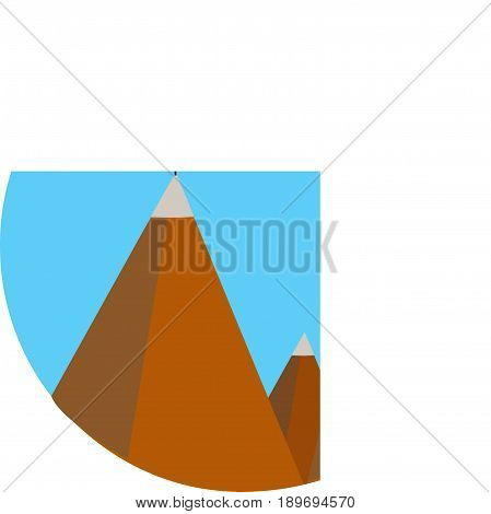 Landscape with flag on the mountain. Success concept. Flat background with mountains. goal achievement.