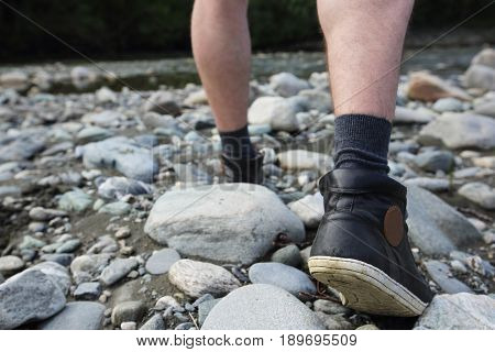 Man Hiking Outdoor Near River