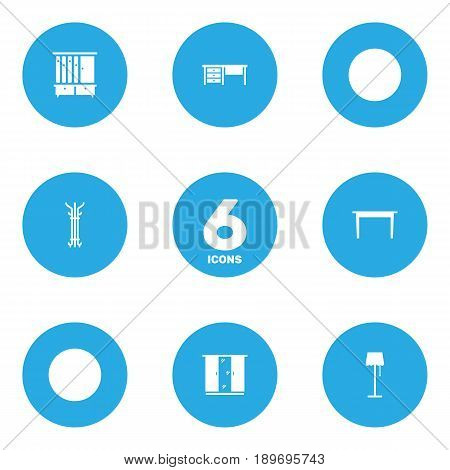 Set Of 6 Decor Icons Set.Collection Of Desk, Cupboard, Wardrobe And Other Elements.