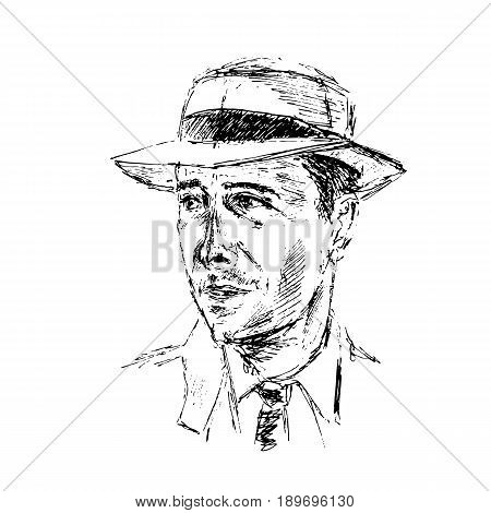 Portrait of an imaginary attractive man in the hat, shirt, tie. Vintage sketchy style. Graphic illustration. For room decoration, posters, prints, clothes, design, cards.