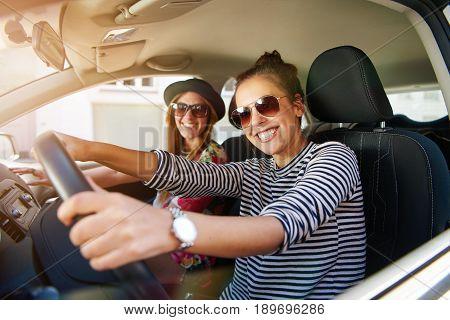 Two Young Women Enjoying A Day Trip To Town