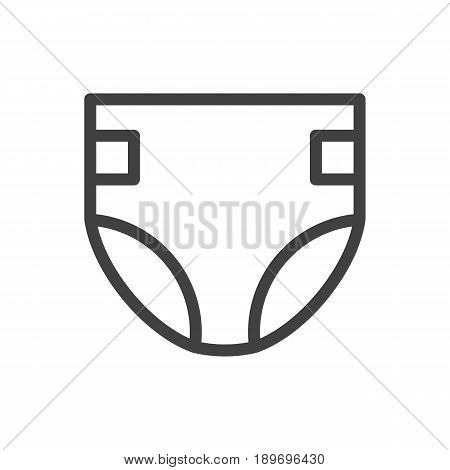 Isolted Nappy Outline Symbol On Clean Background. Vector Diaper Element In Trendy Style.