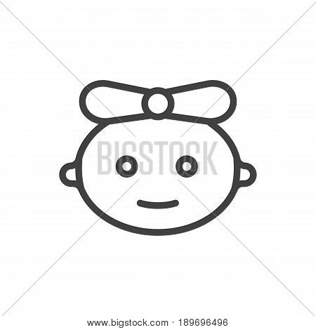 Isolted Girl Outline Symbol On Clean Background. Vector Baby Element In Trendy Style.