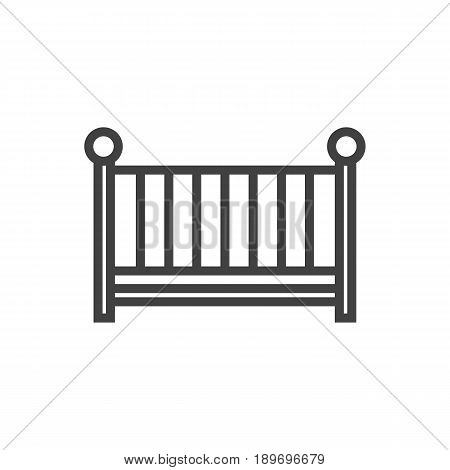 Isolted Cot Outline Symbol On Clean Background. Vector Crib Element In Trendy Style.