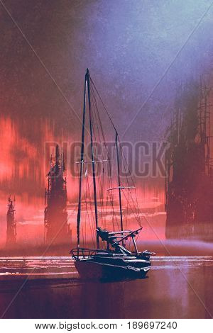 sailing boat on beach against abandoned buildings in the sea at sunset with digital art style, illustration painting