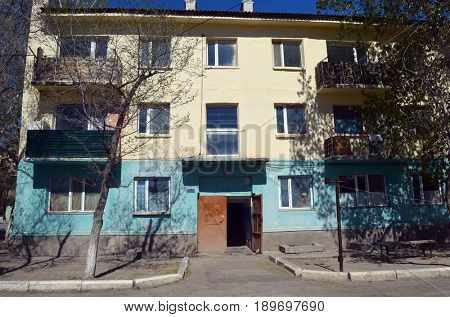 Typical residenial buildigs of 1960-th.Former Soviet anti-ballistic missile testing range Sary Shagan.Adress at Soviet time - Priozersk,st. Soviet 2.May 11, 2017.Priozersk.Kazakhstan