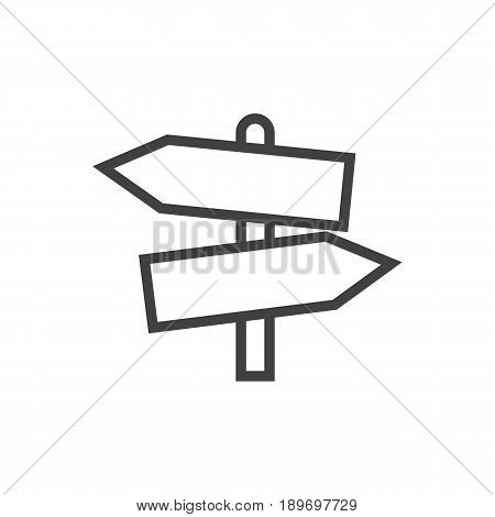 Isolted Signpost Outline Symbol On Clean Background. Vector Guidepost Element In Trendy Style.
