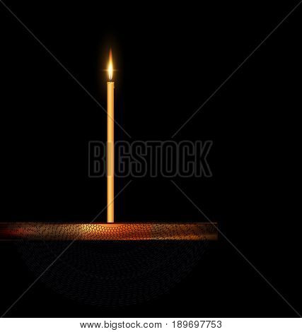 dark background and burning candle on the wooden stand with black veil