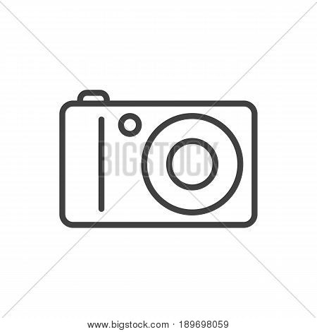 Isolted Photo Camera Outline Symbol On Clean Background. Vector Photographing Element In Trendy Style.