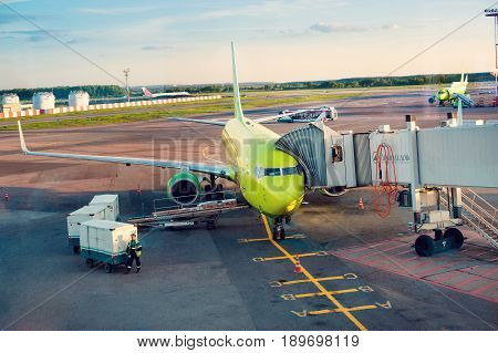 DOMODEDOVO AIRPORT DME , RUSSIA - May 28, 2017: Domodedovo airport on May 28, 2017 in Moscow, Russia. Domodedovo airport is Russia's largest airport, is one of twenty largest airports in Europe