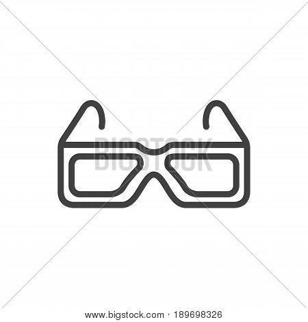Isolted Spectacles Outline Symbol On Clean Background. Vector 3D Glasses Element In Trendy Style.