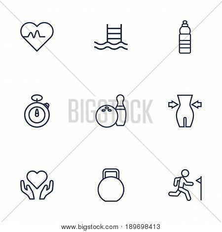 Set Of 9 Bodybuilding Outline Icons Set.Collection Of Water Bottle, Weight Loss, Health Care And Other Elements.