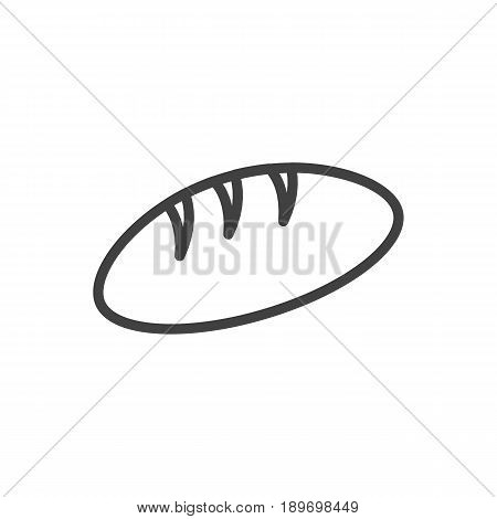 Isolted Loaf Outline Symbol On Clean Background. Vector Bread Element In Trendy Style.