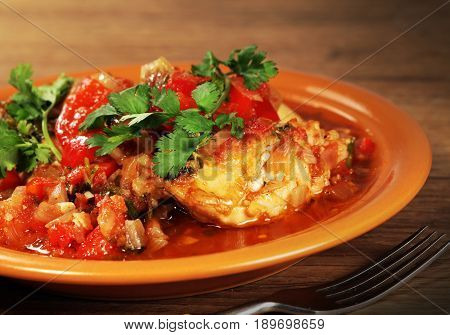 Hot a dish of ethnic cuisine of Georgia prepared from chicken meat : Chahochbilli