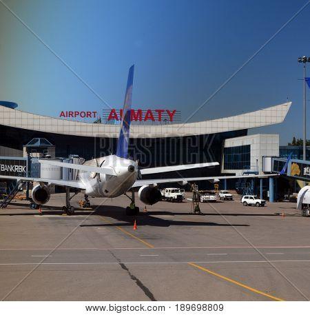 Airport in Almaty.May 12, 2017.Almaty.Kazakhstan