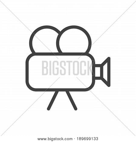 Isolted Camera Outline Symbol On Clean Background. Vector Movie Cam Element In Trendy Style.
