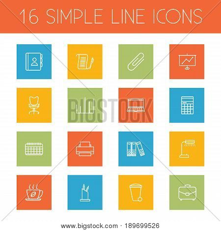 Set Of 16 Bureau Outline Icons Set.Collection Of Counter, Fastener Paper, Hot Drink And Other Elements.