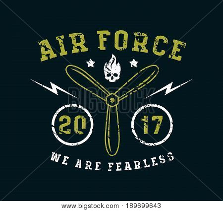 Air Force Emblem In Thin Line Style