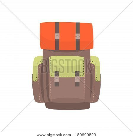 Tourist hiking backpack with camping mat vector Illustration isolated on a white background