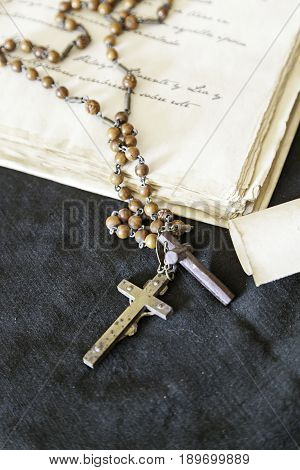 Antique Book With Cross