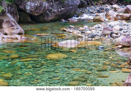 Crystal Clear River Water Flowing Over Rocks