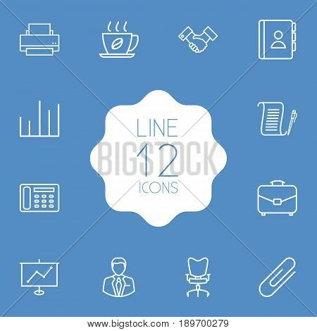 Set Of 12 Cabinet Outline Icons Set.Collection Of Workplace, Administrator, Printing Machine And Other Elements.