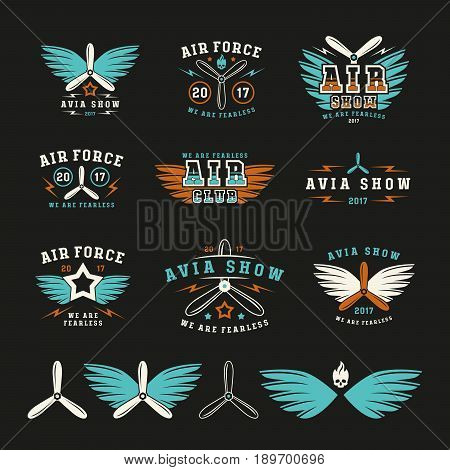 Set Of Air Force And Air Show Emblem And Icons