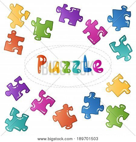 Puzzle stickers set. objects - blocks collection. Kids vector