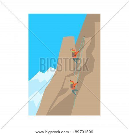 Mountain climbers climbing a peak, alpinism colorful vector Illustration