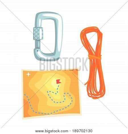Map and climbing equipment vector Illustration isolated on a white background