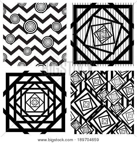 Set of four seamless geometric backgrounds, trendy modern monochrome illustrations