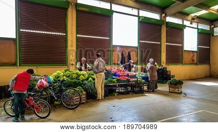 Eskisehir, Turkey - May 25, 2017: Different Kinds Of Fresh Green Vegetables And Fruits On Sale In Tr