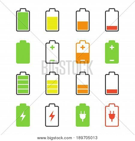 Battery set, charge and discharge rates icons, accumulator level images, strength cycles pictures. Vector flat style illustration isolated on white background