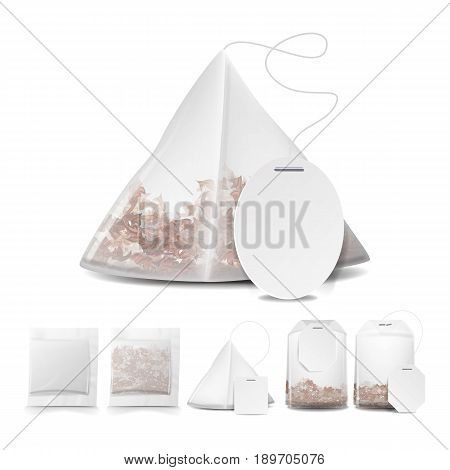Tea Bags Illustration With Labels. Square, Rectangle, Pyramid Shapes. Vector Mock Up Illustration For Your Design. Isolated