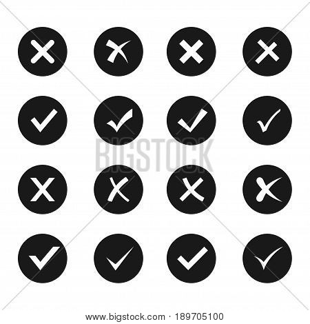 Check and cross icon set, right and wrong circle shape signs, yes and no web image. Vector flat style cartoon illustration isolated on white background