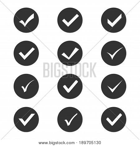 Check mark set, white thin and thick tick within a black round box in a handwritten style. Vector flat style illustration isolated on white background
