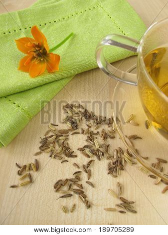 Cup of fennel tea and fennel seeds