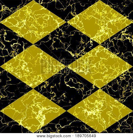 Abstract marbled diamond pattern of beveld squares. Black and gold veined marble background